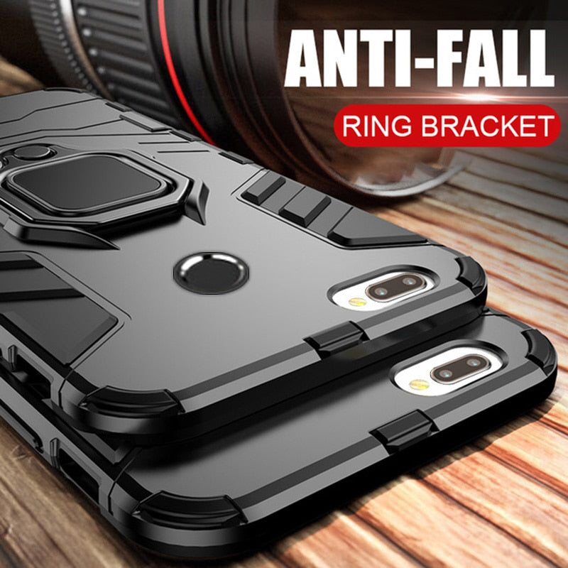 Luxury Armor Ring Case For Huawei P Smart Case Magnetic Anti-Fall
