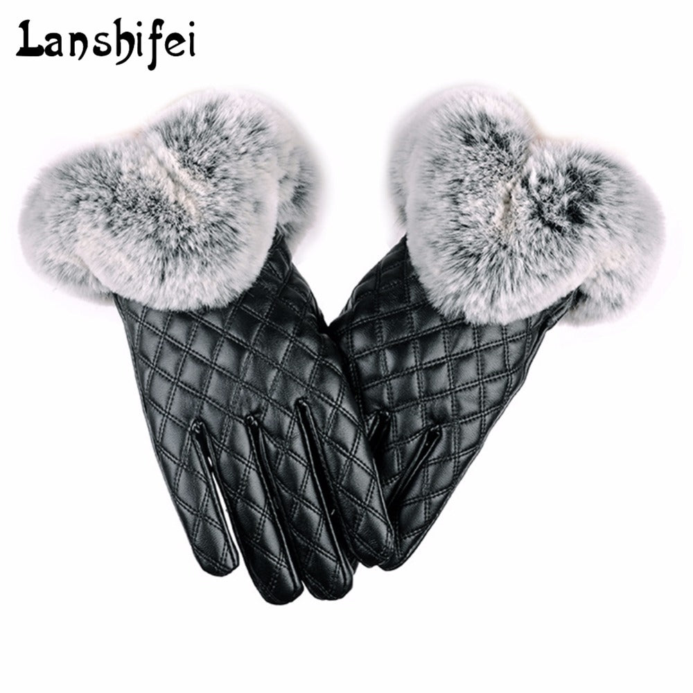 Women thickening Winter Gloves  PU Leather