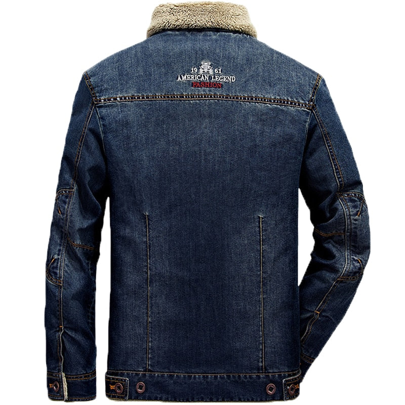 Denim Jacket Men Winter Wool Liner Warm Mens