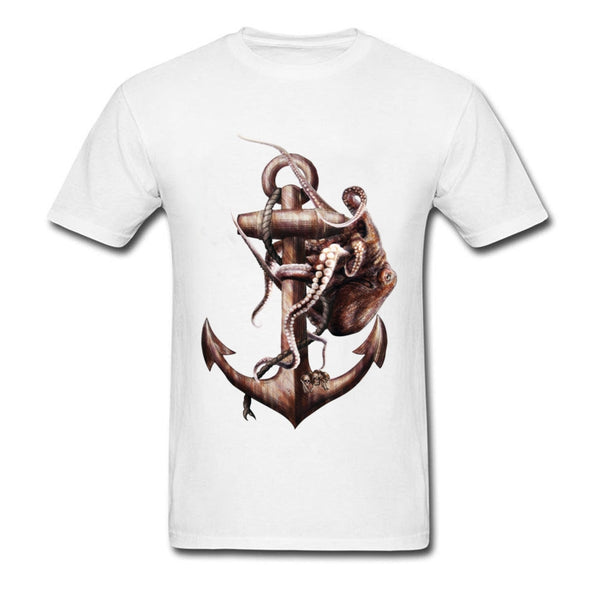 SeaMan Seawoman T-shirt Rusty Anchor & Octopus Painting