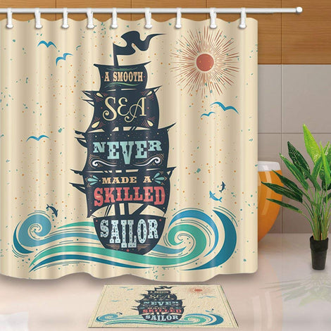 Decor, A Smooth Sea Never Made a Skilled Sailor Shower Curtain Suit