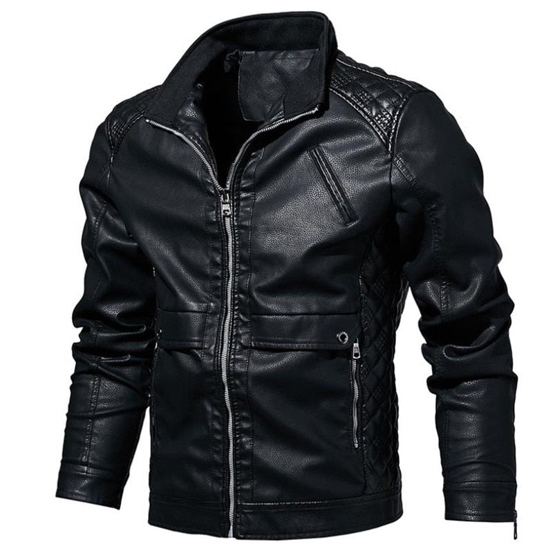 Spring and autumn new men's leather jacket