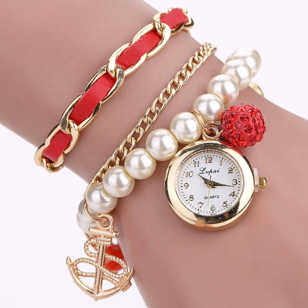 SeaWomen Pearl Pendant Anchor Bracelet Watches  Quartz