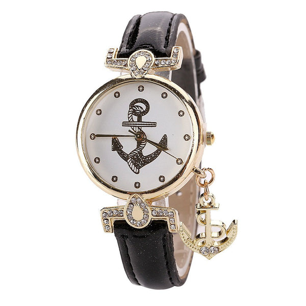SeaWomen Watch Vintage Flower Anchor Leather Band Quartz