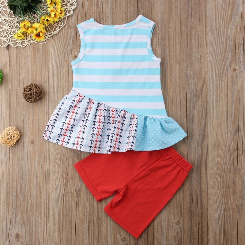 Summer Baby Girls Kids Anchor Outfit Casual Mini Sailor