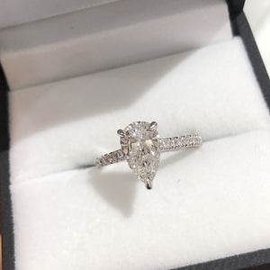 Pear Shape Pavé Cathedral Ring