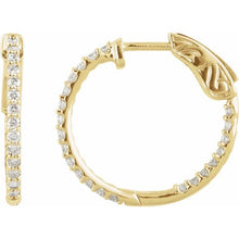 Load image into Gallery viewer, 14K Gold 1 CTW Diamond Inside-Outside 26.5 mm Hoop Earrings
