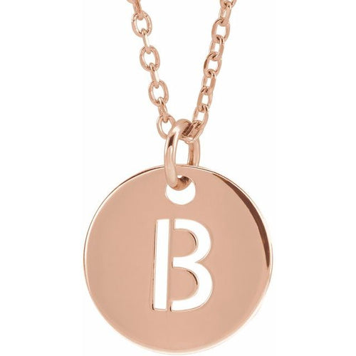 14K Gold Initial B 10 mm Disc 16-18