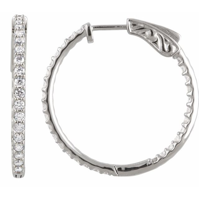 14K Gold 1 CTW Diamond Inside-Outside 26.5 mm Hoop Earrings