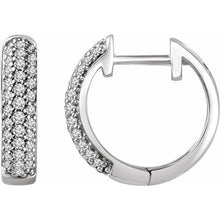 Load image into Gallery viewer, 14K White 1/3 CTW Diamond Hoop Earrings