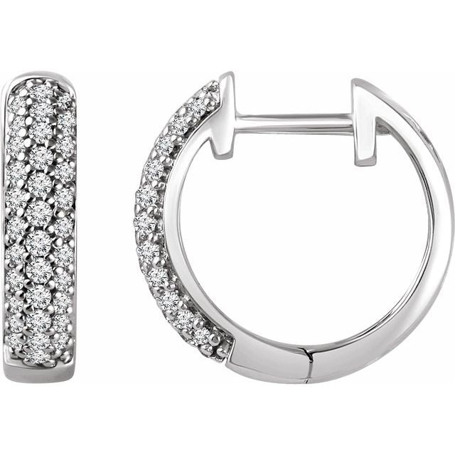 14K White 1/3 CTW Diamond Hoop Earrings