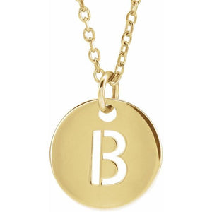 "14K Gold Initial B 10 mm Disc 16-18"" Necklace"
