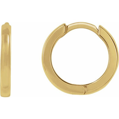 14K Gold 15 mm Hinged Hoop Earrings