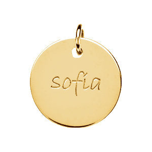 14K Gold Engravable Large Disc Pendant 15.9 mm, Pendant,  - [Wachler]