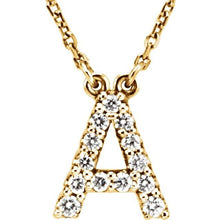 Load image into Gallery viewer, 14K Gold 1/8ct Diamond Initial Pendant
