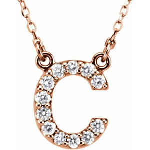 14K Gold Diamond Initial Pendant