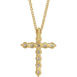 14K Gold 0.37 Carat Diamond Cross Pendant - Large, Pendant,  - [Wachler]
