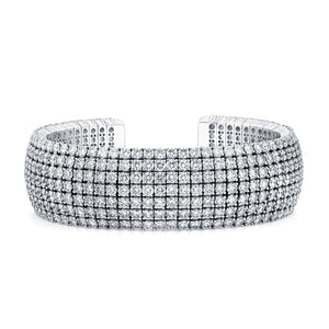 Round Brilliant Cut Diamond 7 Row Cuff, Bracelet,  - [Wachler]
