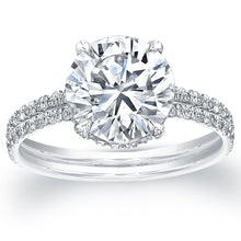 Load image into Gallery viewer, Round Solitaire Two Row Diamond Engagement Ring, Engagement Ring,  - [Wachler]