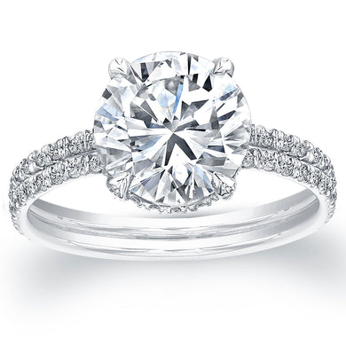 Round Solitaire Two Row Diamond Engagement Ring, Engagement Ring,  - [Wachler]
