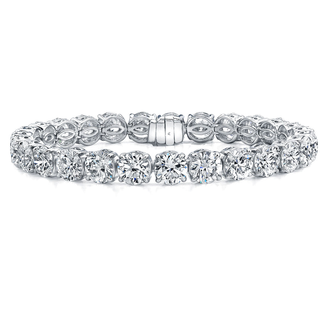 Round Brilliant Cut Straight Line Diamond Bracelet, Bracelet,  - [Wachler]