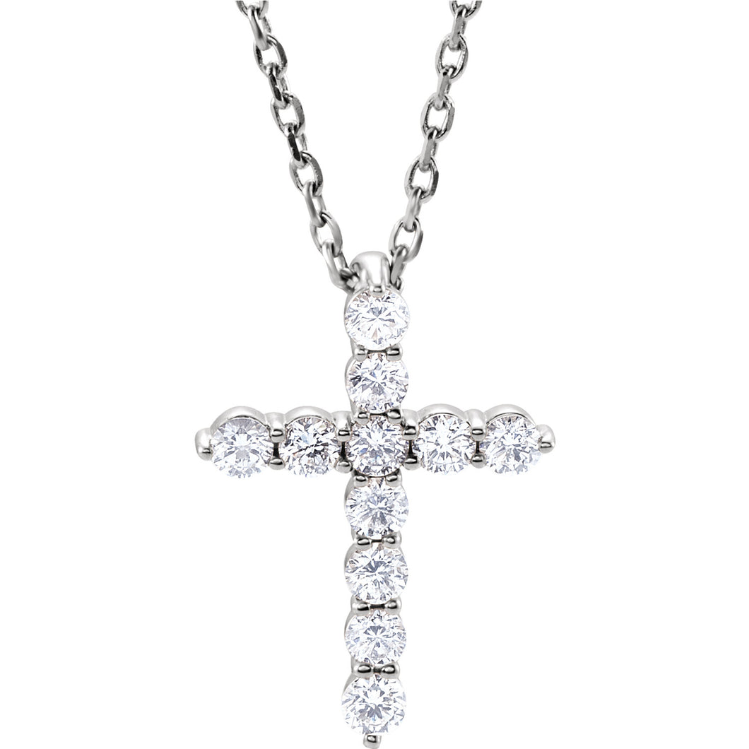 14K Gold 0.25 Carat Diamond Cross Pendant - Medium, Pendant,  - [Wachler]