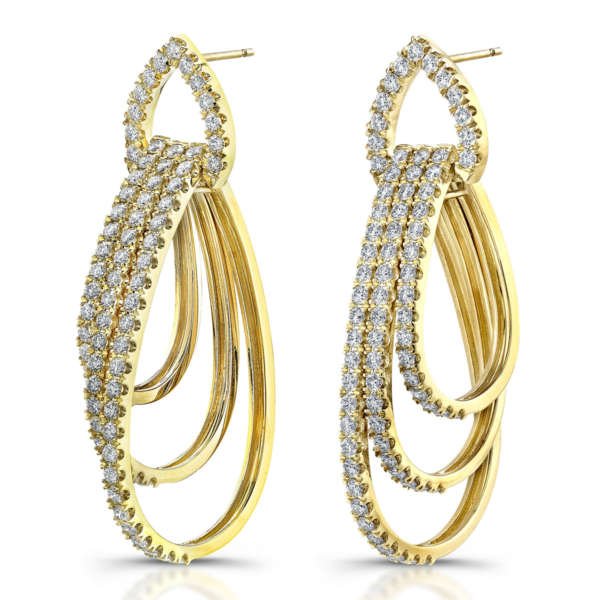Teardrop Hoop Round Diamond Earrings, Earrings,  - [Wachler]