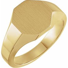Load image into Gallery viewer, 14K Gold 12.4x12.1 mm Men's Octagon Signet Ring