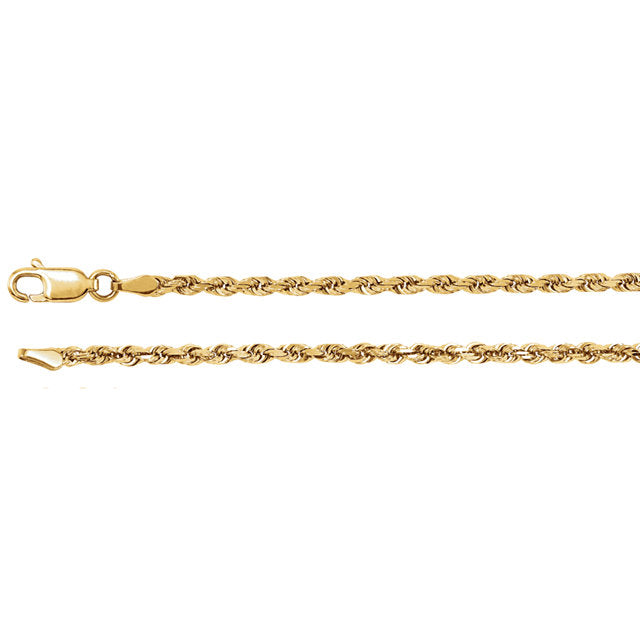 14K Gold 1.6 mm Diamond Cut Rope Chain, Necklace,  - [Wachler]