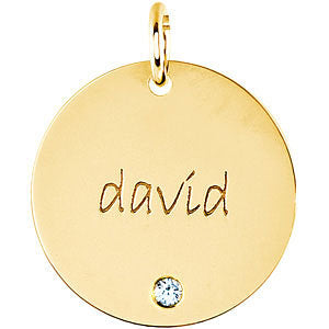 14K Gold Engravable Extra Large Disc Pendant 19mm, Pendant,  - [Wachler]