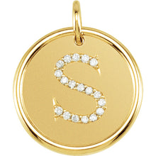Load image into Gallery viewer, 14K Gold 0.10ct Diamond Initial Pendant, Pendant,  - [Wachler]