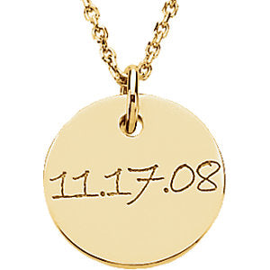 14K Gold Engravable Mini Disc Pendant 12.7 mm, Pendant,  - [Wachler]