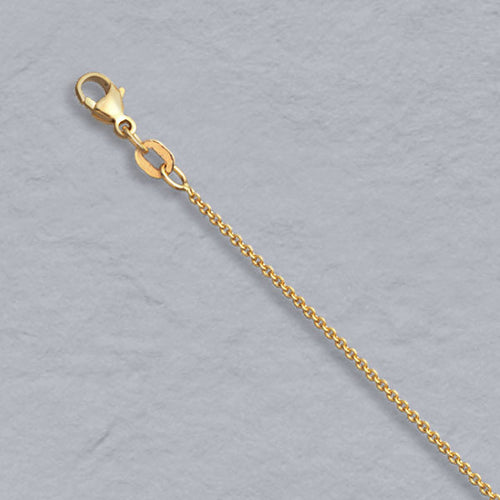 14k Gold 1mm Cable Pendant Chain