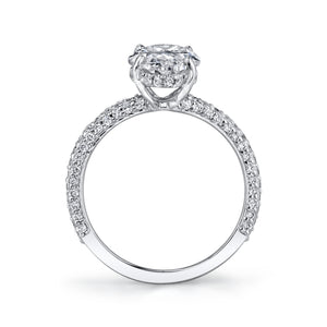Micro Pave Oval Engagement Ring, Engagement Ring,  - [Wachler]
