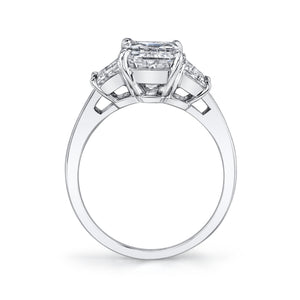 Emerald Cut with Step Trapezoid Cut Engagement Ring, Engagement Ring,  - [Wachler]