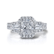 Load image into Gallery viewer, Halo Radiant Tapered Baguette Engagement Ring, Engagement Ring,  - [Wachler]