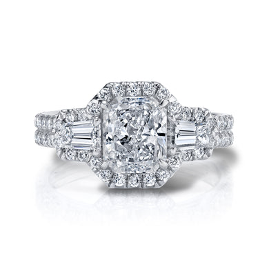 Halo Radiant Tapered Baguette Engagement Ring, Engagement Ring,  - [Wachler]