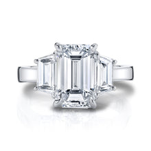 Load image into Gallery viewer, Emerald Cut with Step Trapezoid Cut Engagement Ring, Engagement Ring,  - [Wachler]