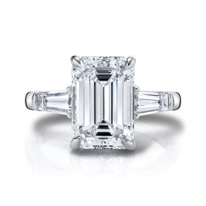 Emerald Cut set with Tapered Baguettes Engagement Ring, Engagement Ring,  - [Wachler]