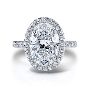 5 Carat Oval Halo Engagement Ring, Engagement Ring,  - [Wachler]