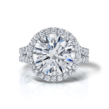 Load image into Gallery viewer, Round Brilliant Cut Halo Split Engagement Ring, Engagement Ring,  - [Wachler]