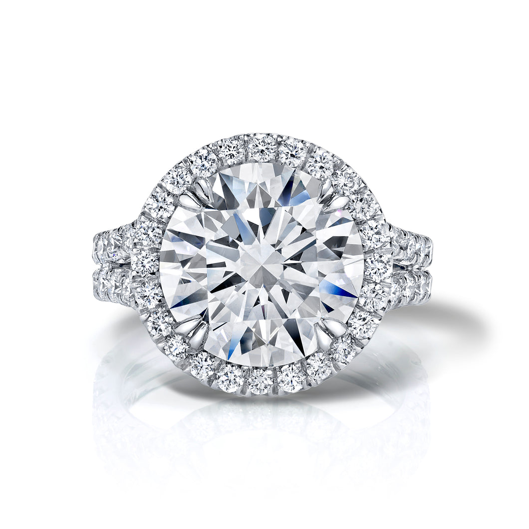 Round Brilliant Cut Halo Split Engagement Ring, Engagement Ring,  - [Wachler]