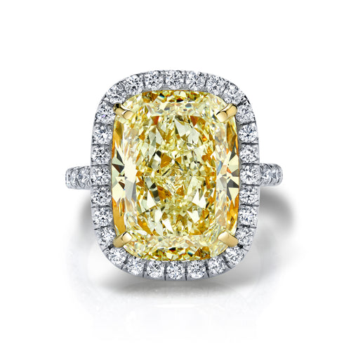 Fancy Light Yellow Cushion Halo Engagement Ring, Engagement Ring,  - [Wachler]