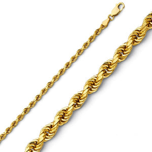 14k Gold 2.5mm Diamond Cut Rope Chain