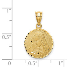 Load image into Gallery viewer, 14K Brushed Diamond-Cut Virgin Mary Pendant