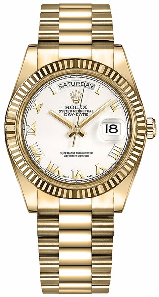 Day-Date 36 White Roman Numeral Dial Gold Watch 118238
