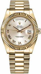 Day-Date 41 Silver Roman Numeral Dial Men's Gold Watch 218238