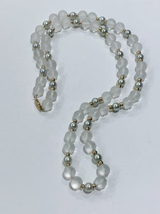 "Pearl & Crystal 24"" 14k Gold Necklace"
