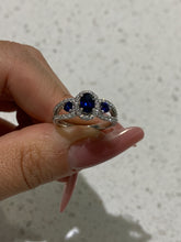 Load image into Gallery viewer, Small Oval Sapphire Diamond Ring