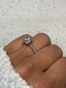 Tacori 18k White Gold Diamond Halo & Cubic Zirconia Ring
